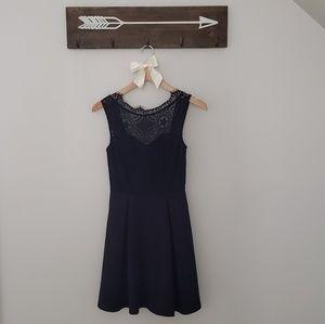 Francesca's Black Skater Dress with Lace Neckline